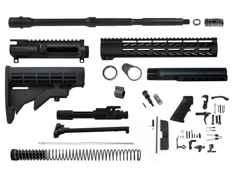 "ar-15 rifle kit 16"" barrel, 12"" M-lok handguard and mil-spec stock and lower parts kit"