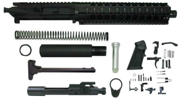 "10.5 inch AR pistol kit 10"" Quad Rail with upper assembled without 80 percent lower receiver"