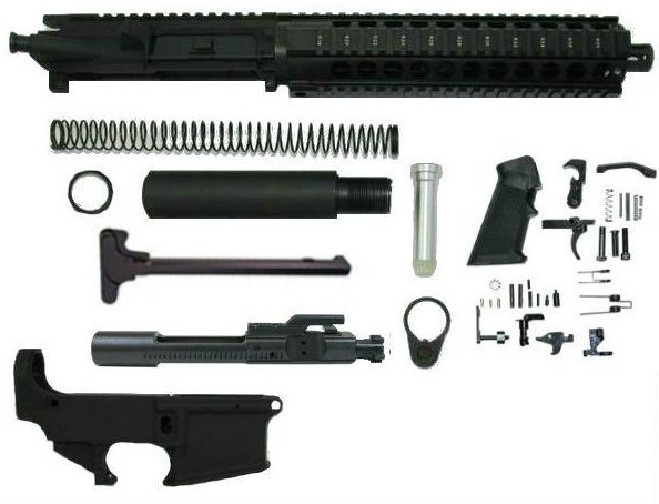 "10.5 inch pistol kit 10"" Quad Rail with upper assembled with 80 percent lower receiver"
