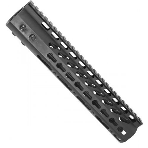 "10"" Ultralight weight Slim Keymod Free float handguard rail The 10 inch ultralight slim keymod hand guard is made with High Grade Aluminum. The 10"" rail slides over the barrel nut and is secured with 6 screws screws. The keymod 10 inch rail assembly is made to fit up tight against the upper receiver allowing for a continuous top rail. The keymod rail is heavy duty as well as light . The handguard and barrel nut are made in america. T6 Aluminum Ultra Lightweight KeyMod System Rail System Slides Over Barrel Nut , And Is Locked Up Against Receiver With 6 Screws 10"" Length"
