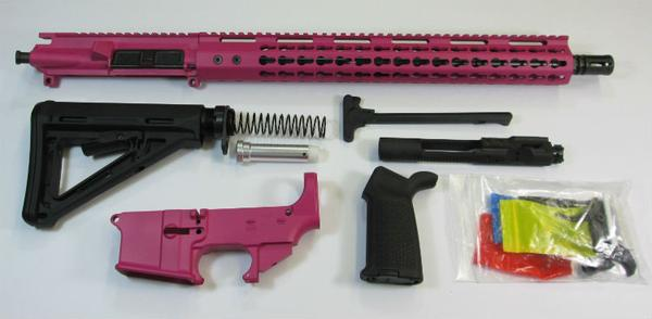 Pink ar-15 Rifle kit with lower and Magpul Stock