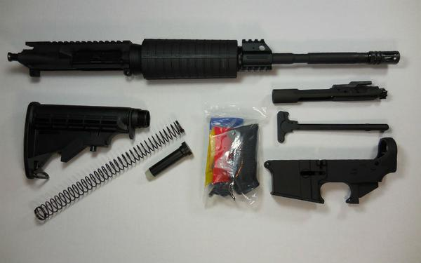 16 inch AR-15 rifle kit with upper assembled with 80 percent lower receiver