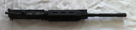 "16"" Upper Complete M4 1x9 5.56, Carbine, Single Rail Height Gas Block, Moe Handguard"