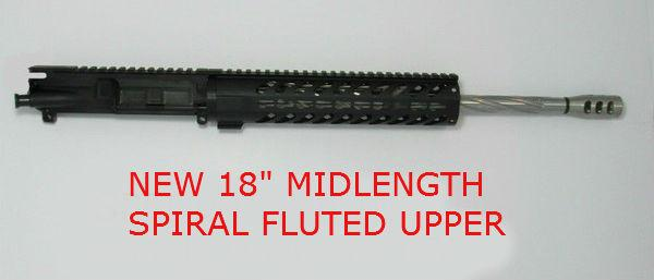 "18"" Upper 1x8 Wylde S.S Spiral Fluted Midlength 12 inch Keymod Rail No BCG or Charging Handle"