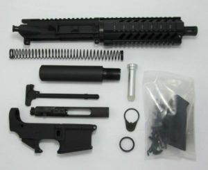 7.5 inch AR-15 pistol kit upper assembled with 80 percent lower