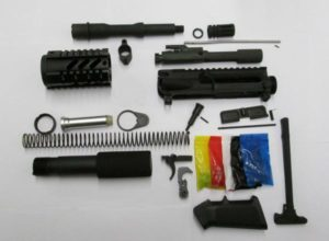 Complete AR15 pistol kit unassembled with NO lower receiver