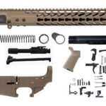 flat dark earth 5.56 rifle kit with 15 inch keymod rail