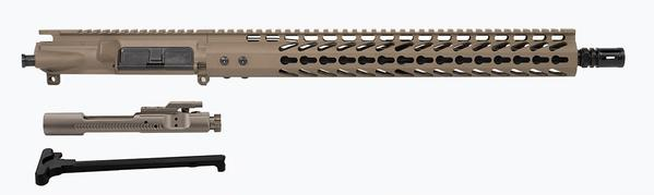 "FDE 16"" Upper with 15"" keymod rail nickel boron bcg and charging handle"