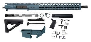 "Titanium Blue 16"" Ar15 Kit with 15"" blue titanium Slim Keymod with Lower"