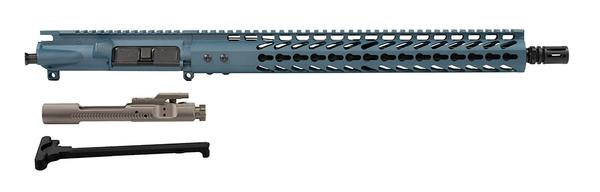 "16"" AR-15 Upper Titanium Blue with 15"" keymod rail nickel boron bcg and charging handle"