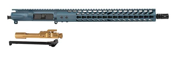 "16"" AR-15 Titanium Blue Upper 15"" Keymod with Titanium Nitride Bcg and Charging Handle"