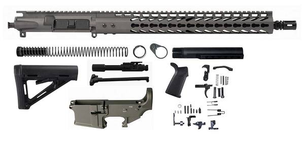 "Tungsten Grey 16"" Ar 15 Kit with 15"" Slim Keymod with Lower"