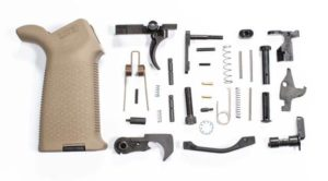AR-15 Lower Parts Kit FDE Magpul Moe Grip and black moe trigger guard