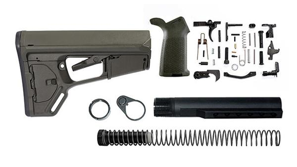 Magpul ACS-L Lower Build Kit with Stock, Lower parts kit, grip hardware - OD Green