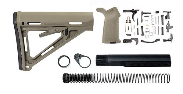 magpul moe lower build with stock, lower parts kit, and stock hardware - flat dark earth