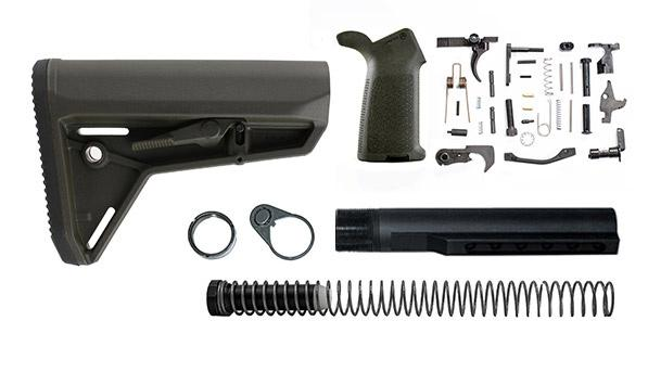 magpul moe sl lower build with stock, lower parts kit, and stock hardware - od green