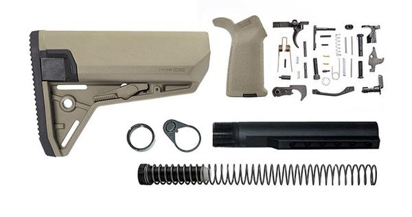 magpul moe SL-S lower build kit with stock, lower parts kit, and stock hardware - flat dark earth