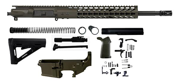 "16 inch AR-15 Rifle Kit with 12"" keymod rail - OD Green"