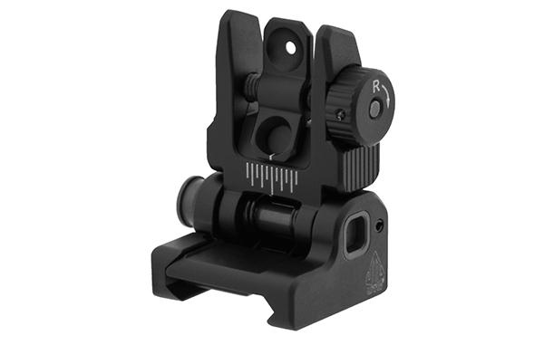 leapers utg accu-sync spring loaded ar-15 rear flip up sight