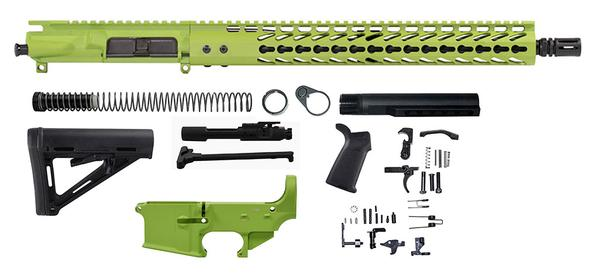 16 inch zombie green ar15 kit 5.56 with 80% lower receiver