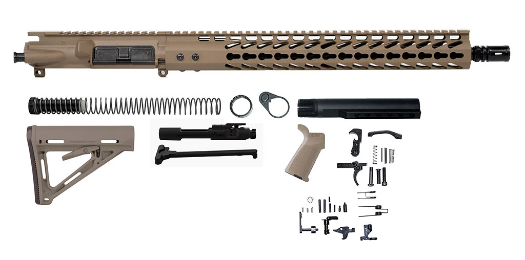 Complete AR-15 Rifle Build Kit in Flat Dark Earth FDE