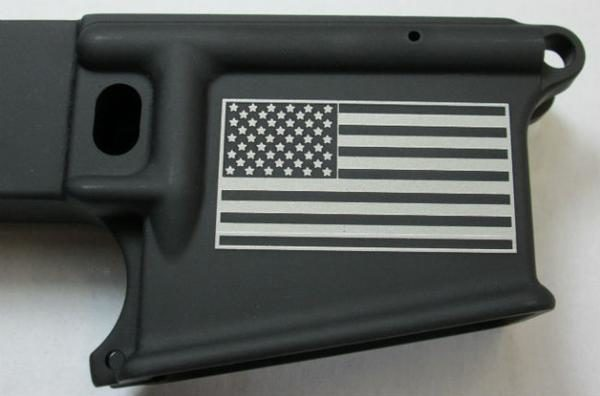 Laser Engraved American Flag 80% AR-15 Anodized Lower receiver