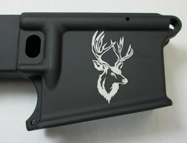 80 percent lower laser engraved with deer head #1