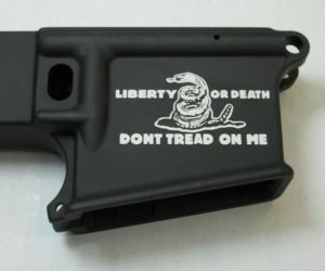 80% lower with laser engraved dont tread on me snake