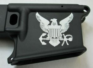 80% lower with laser engraved navy logo