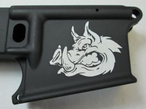80 percent lower laser engraved with hog head