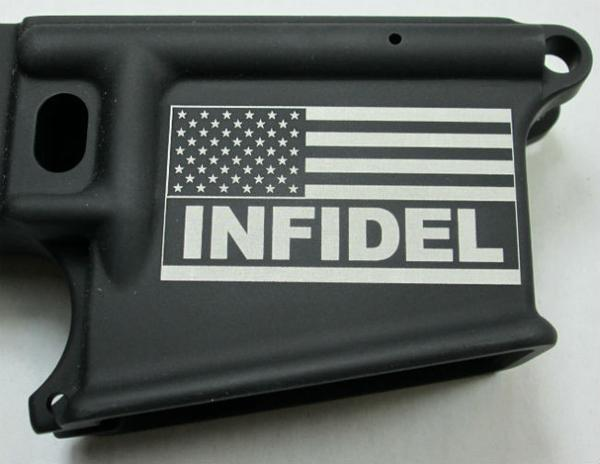 80% Lower Receiver Engraved with the American Flag With Infidel