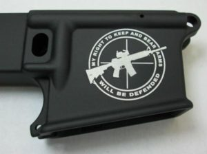 80% lower with laser engraved Right to Bear Arms Defended