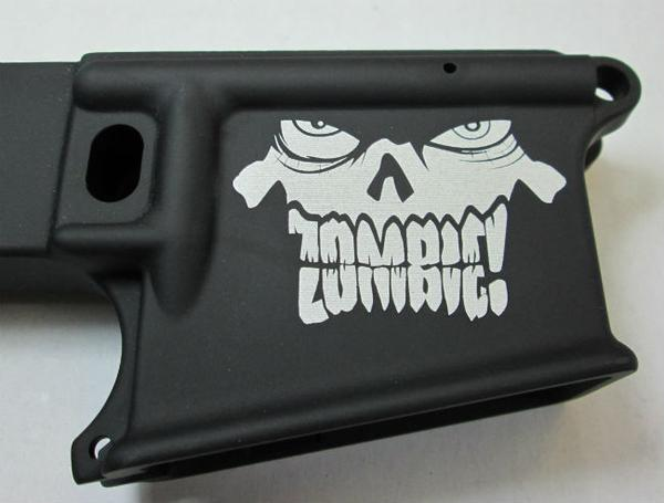 80% lower with laser engraved zombie head