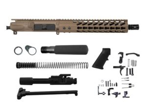 "10.5"" ar-15 pistol kit with flat dark earth upper and handguard mil-spec nato barrel 1 x 7 twist"