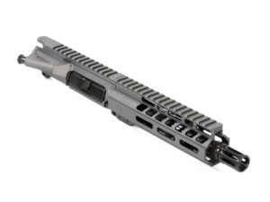 Ghost Firearms Elite 7.5″ 300 Blackout Pistol Upper in Tungsten Grey *Does not include Charging Handle or Bolt Carrier Group The Ghost Firearms Elite 7.5″ 5.56 NATO Pistol Upper with 7″ Ghost Rail in Tungsten Grey Cerakote Finish is an AR-15 Pistol Upper.  It features a 7.5″ Barrel with a 1:7″ twist and an A2 Birdcage Flash Hider to finish it off.  The 7″ free floating M-LOK Ghost Rail is matching Tungsten Grey Cerakote and engraved with the Ghost 'G'.  Also, the Ghost MIL-SPEC 7075-T6 Aluminum Upper Receiver is Tungsten Grey Cerakote Finish. Ghost Firearms Elite 7.5″ 5.56 NATO Pistol Upper Features: 5.56 NATO Chamber (Fires both .223 and 5.56 ammunition) 7.5″ 4150 M4 Barrel Black Nitride Finish 1 in 7″ twist 1/2″ x 28 thread Pistol-Length gas system Ghost Firearms 7″ Free Floating M-LOK Handguard Ghost Firearms 7075-T6 Aluminum MIL-SPEC Upper Receiver Tungsten Grey Cerakote Finish
