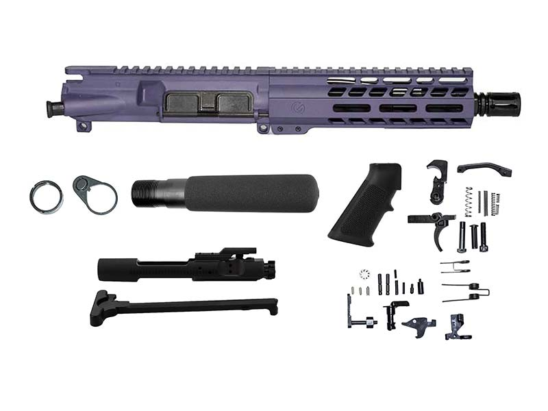 "ghost rifles purple 7.5"" pistol kit 5.56 with mlok handguard"