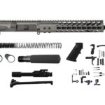ar-15 pistol kit in tungsten grey with bolt carrier, lower parts kit, and pistol buffer assembly